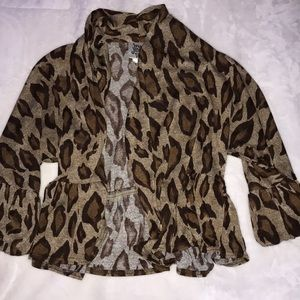 women's cheeta print cardigan